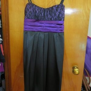 Bwear Purple Black Short Satiny, Lace Formal Dress